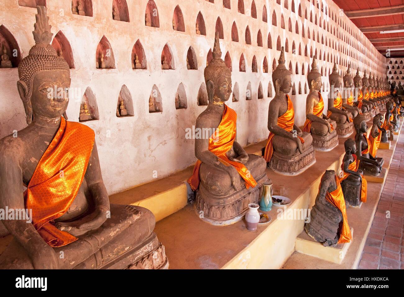 Buddhas at Wat Sisaket Buddhist Monastery in Vientiane, Laos. - Stock Image