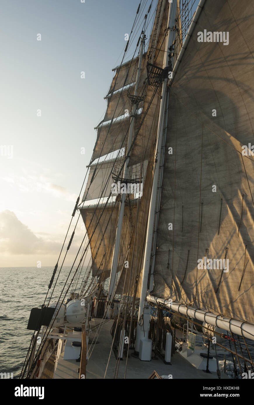 Ecuador, Galapagos, Rigging and sails of barquentine boat - Stock Image