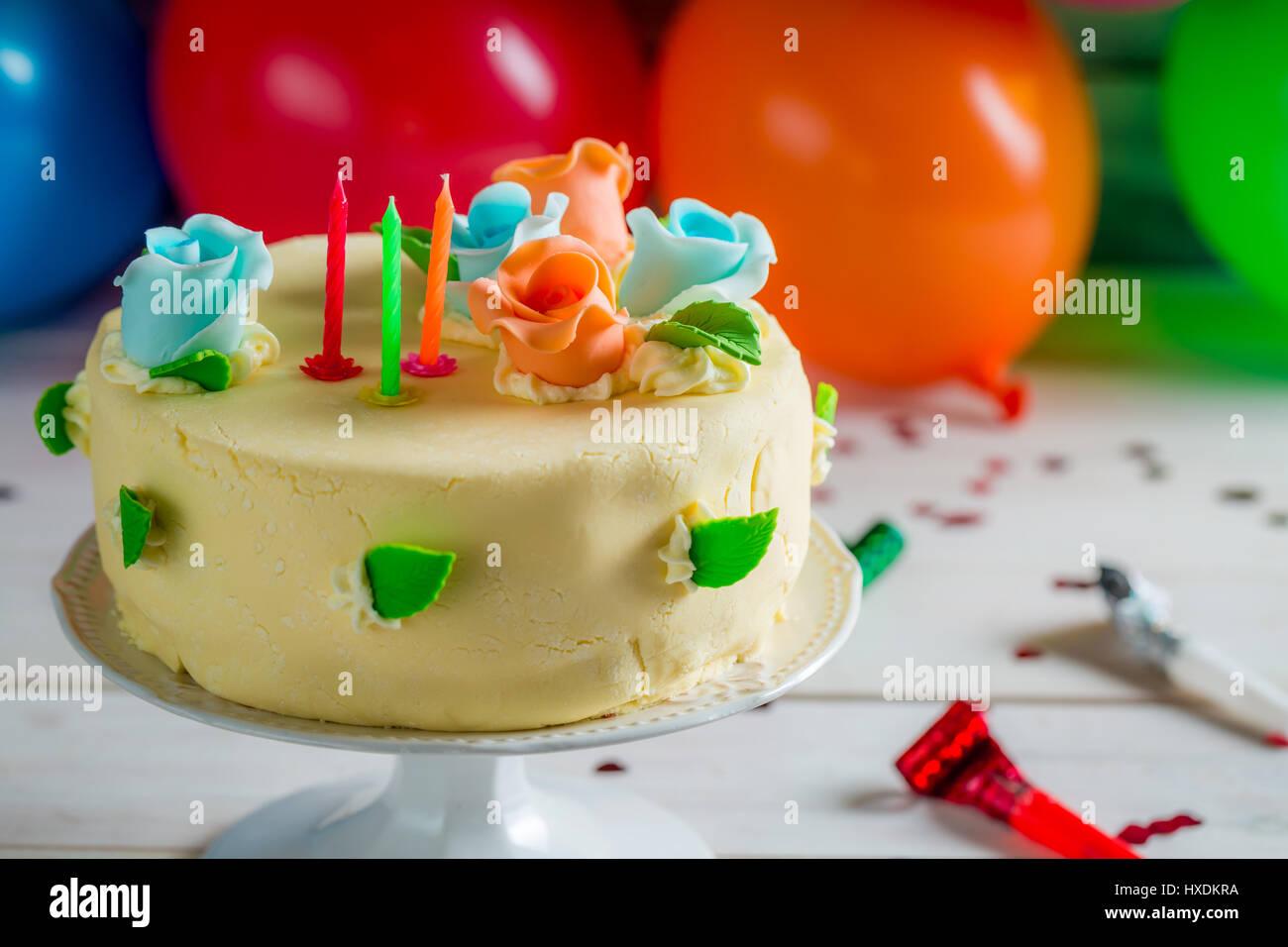 Birthday Cake Ready Light Candles Stock Photos Birthday Cake Ready