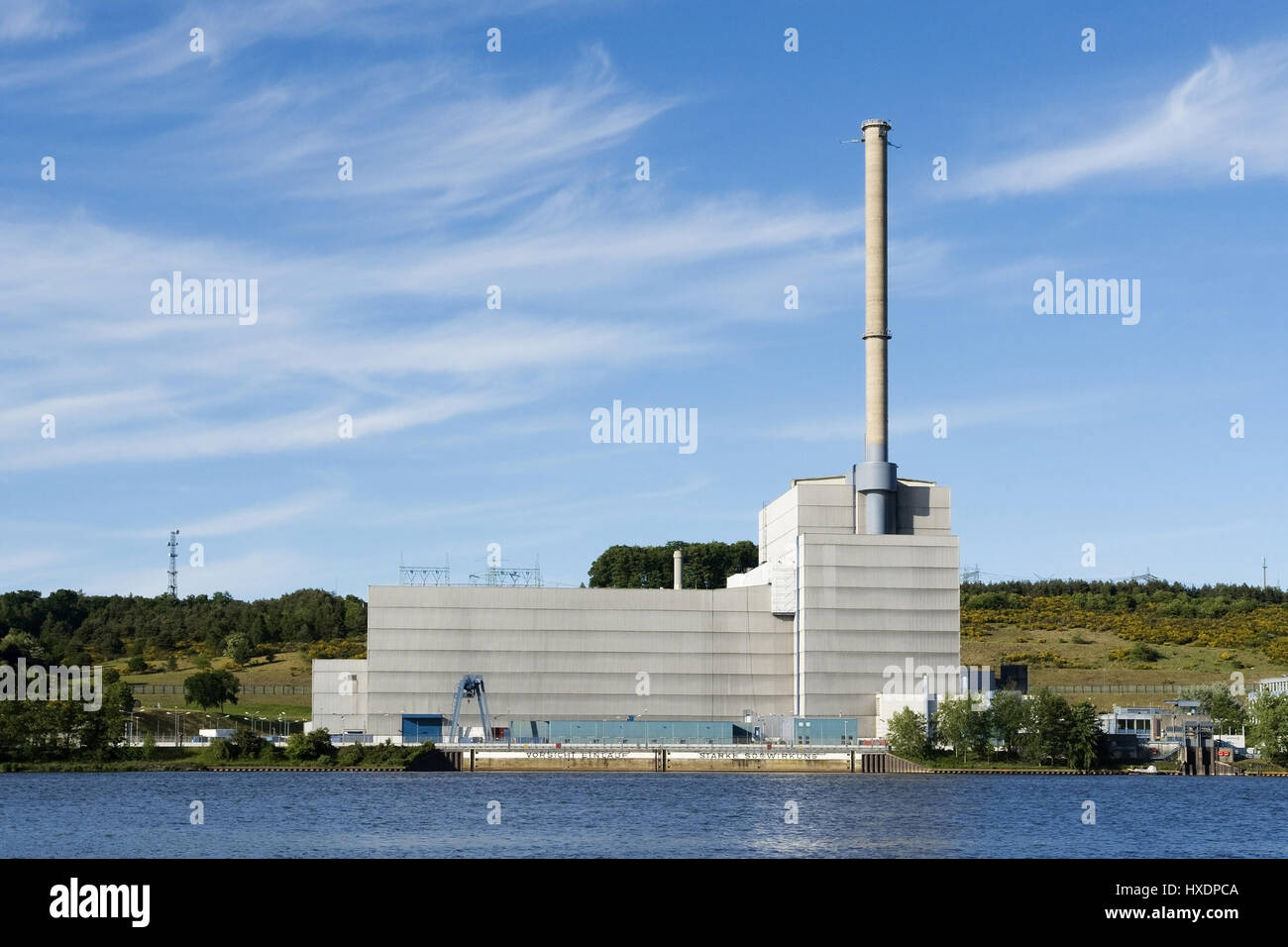 Nuclear power station Kr?mmel, Nuclear power station Kr?mmel |, Atomkraftwerk Krümmel |Nuclear power station - Stock Image