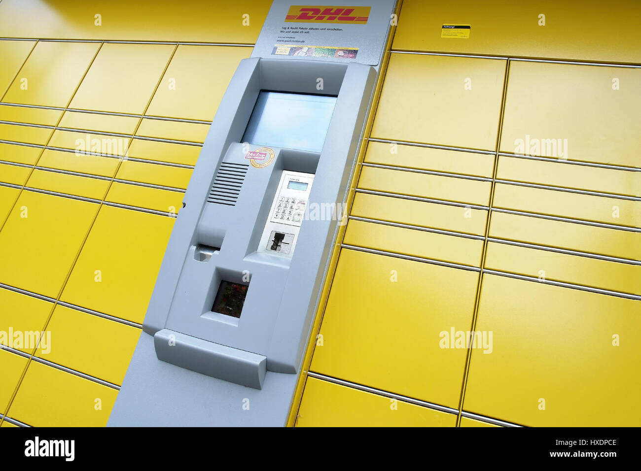 Package station of DHL, Paketstation von DHL Stock Photo