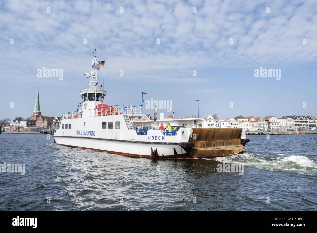 Car ferry in Travem?nde, Autofaehre in Travemuende - Stock Image