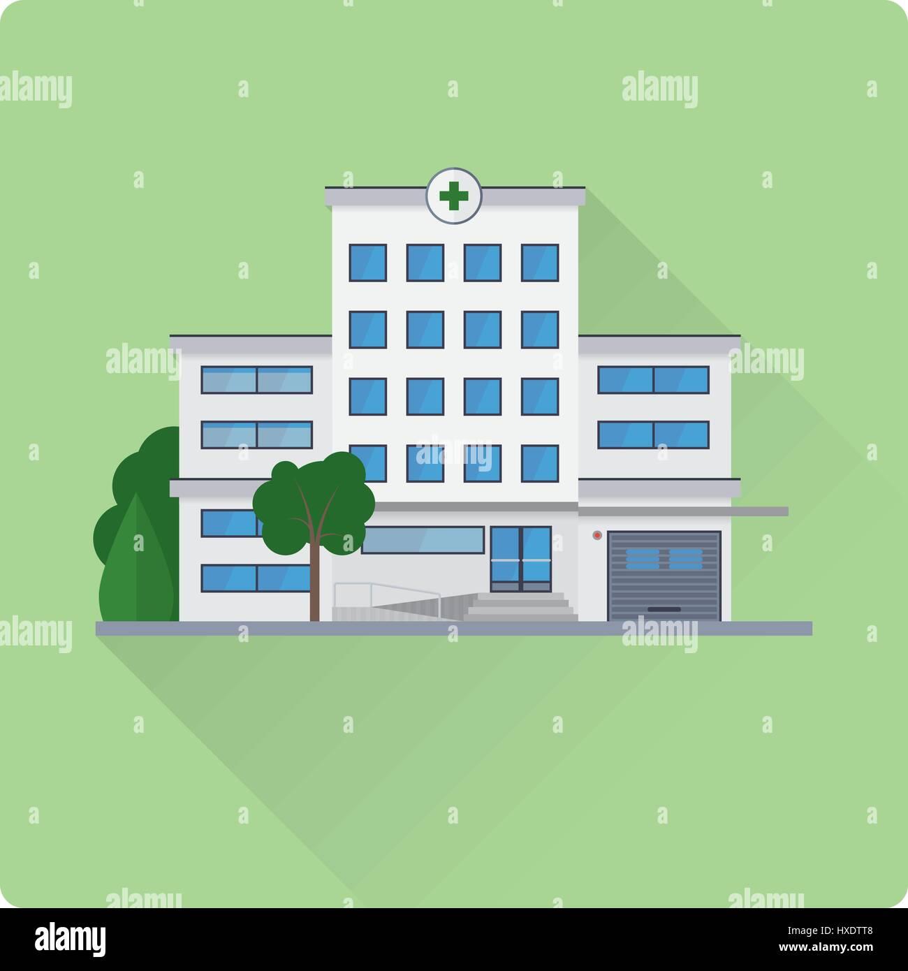 flat design long shadow hospital building vector