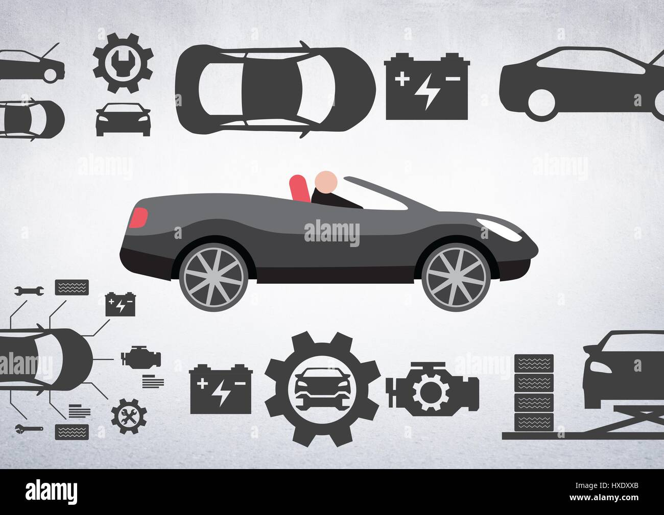 Digital composite of Man in car illustration against white background with car mechanic icons Stock Photo