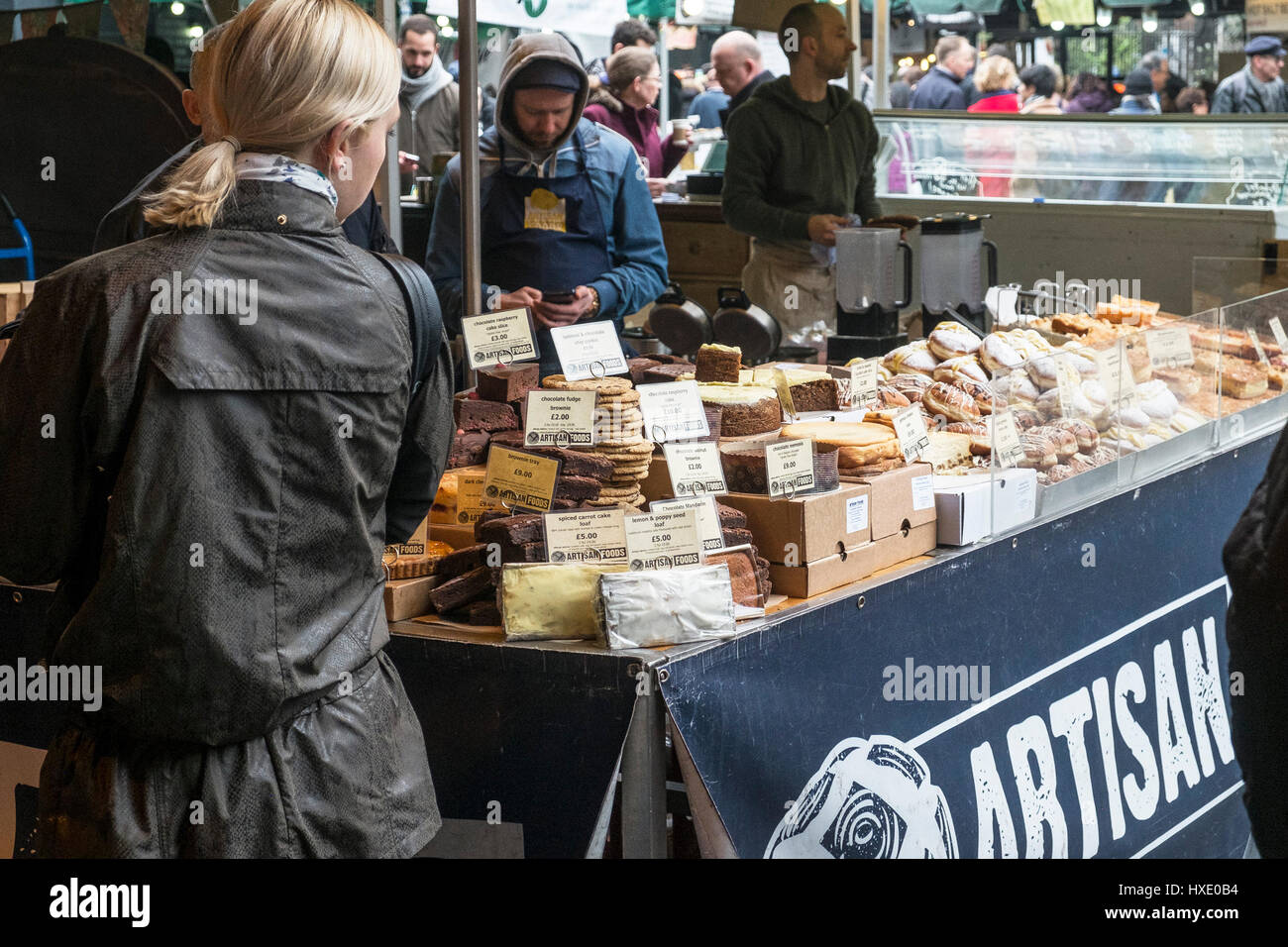 Borough Market Display Stall Artisan Cakes Food Shoppers; Shopping - Stock Image