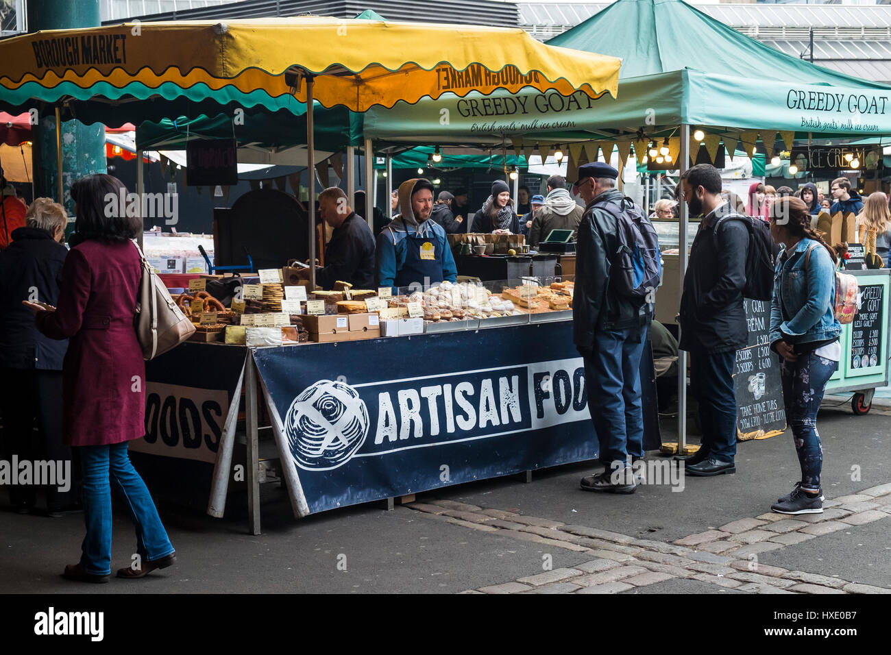 Borough Market Display Artisan Food Shoppers Stall Customers - Stock Image