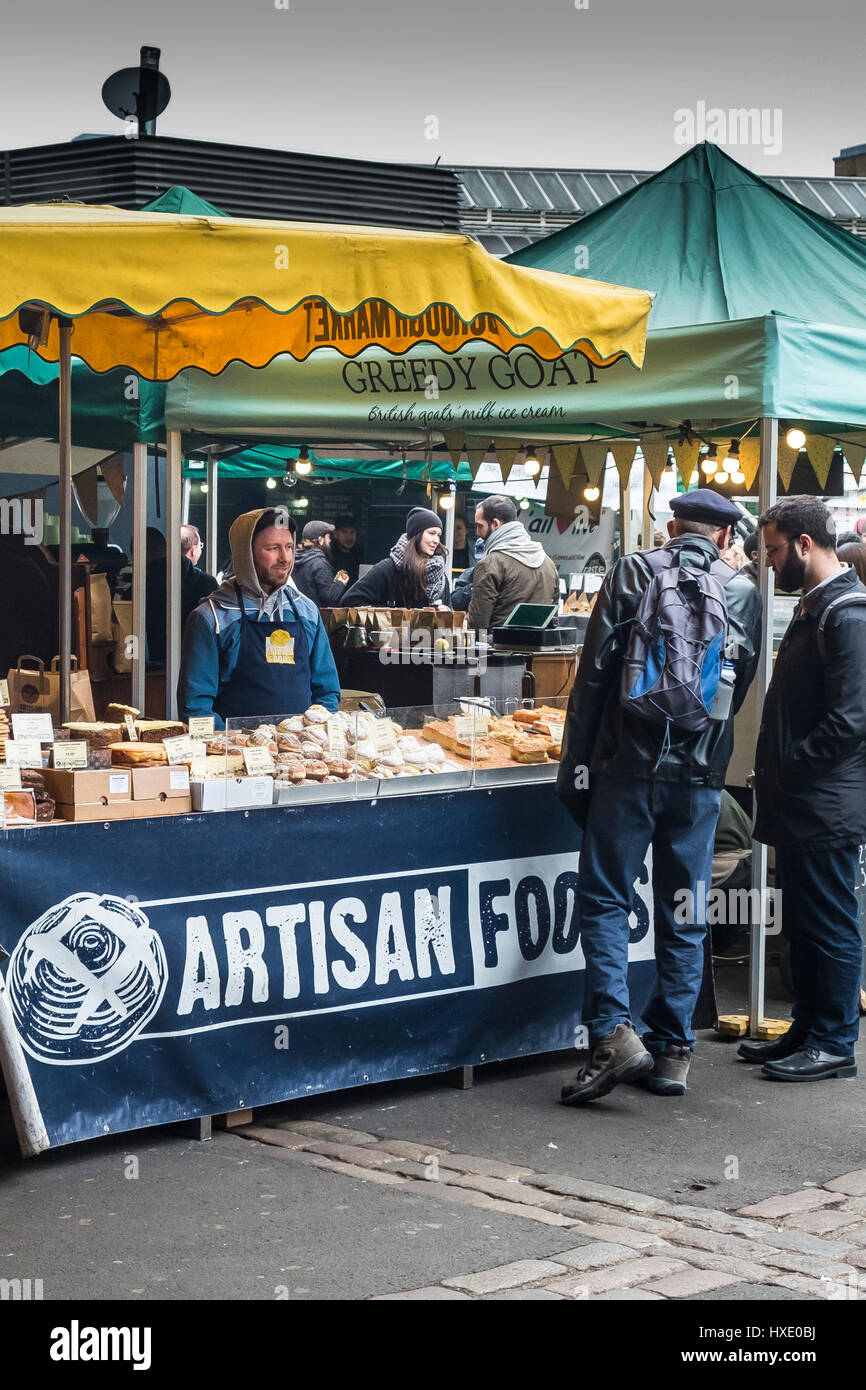 Borough Market Display Artisan Food Healthy Food Shoppers Customers Stall - Stock Image