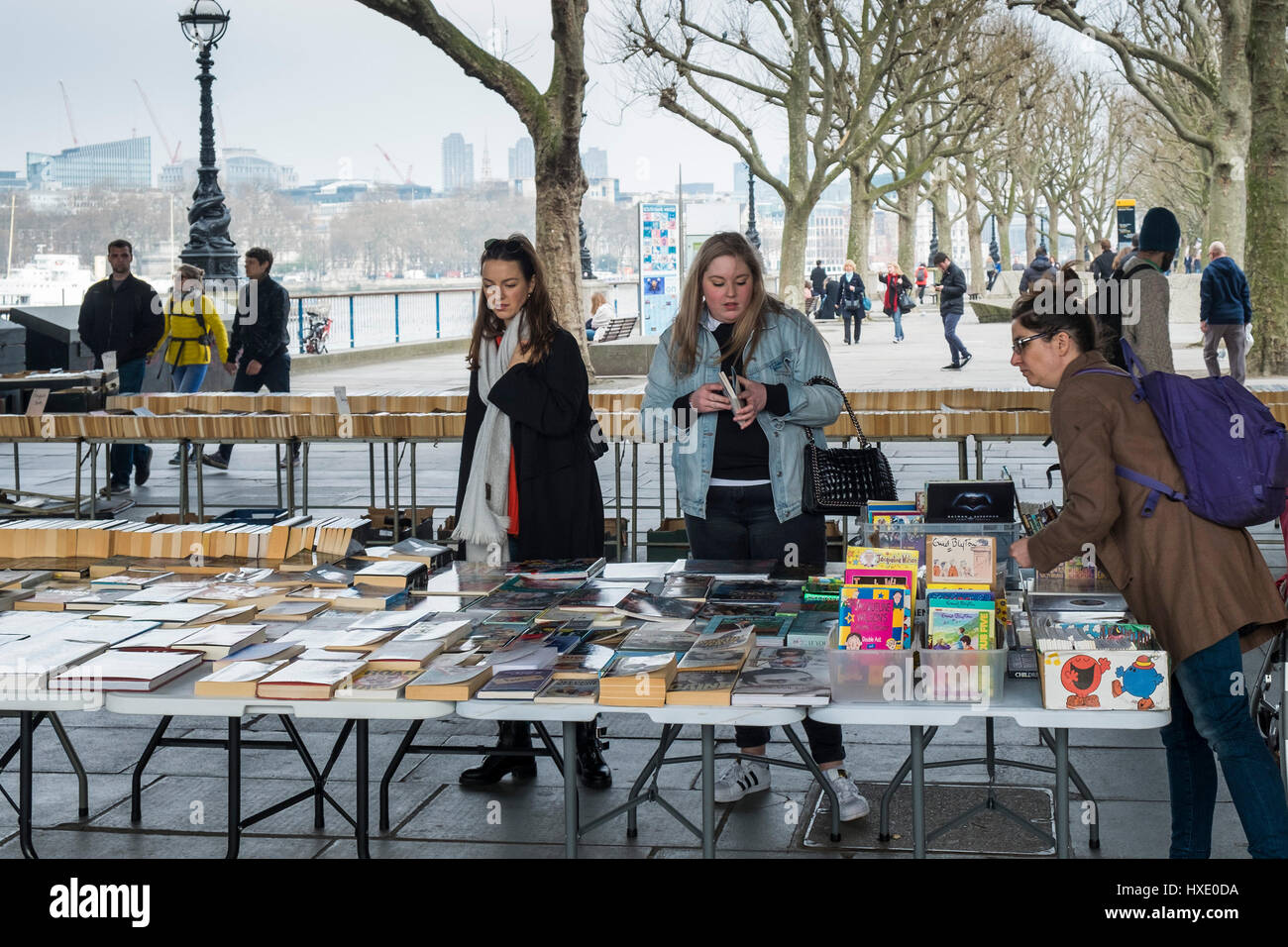 Southbank Centre Book Market Second-hand Books Customers Browsers Browsing London - Stock Image