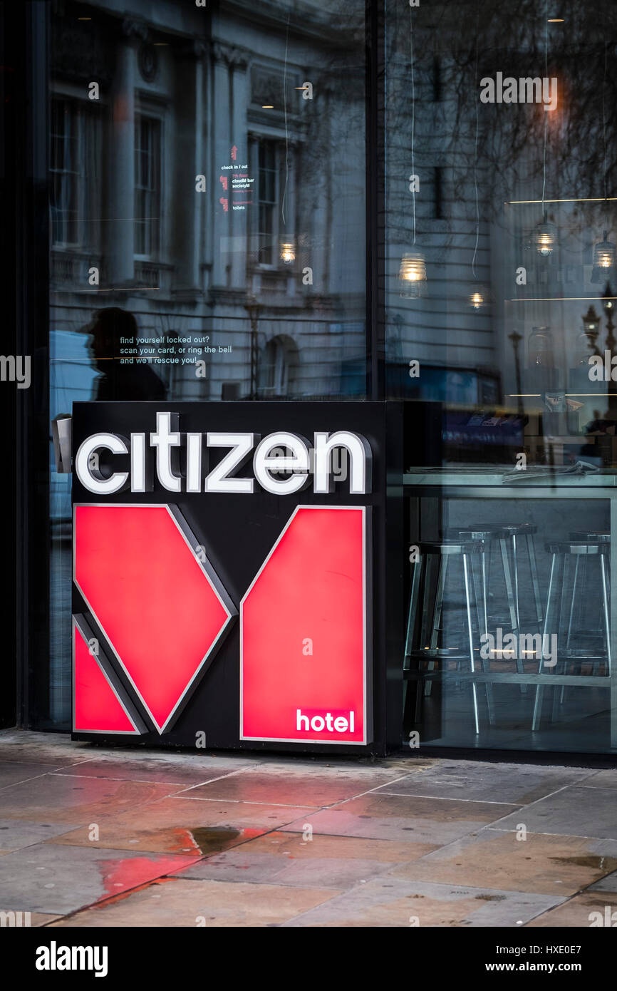 Citizen Hotel Logo Sign Exterior London - Stock Image