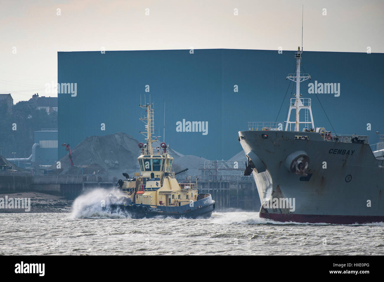 Ships Tug Vessels Svitzer Bootle Assisting Cembay River Thames Steaming Downriver Transport Working - Stock Image