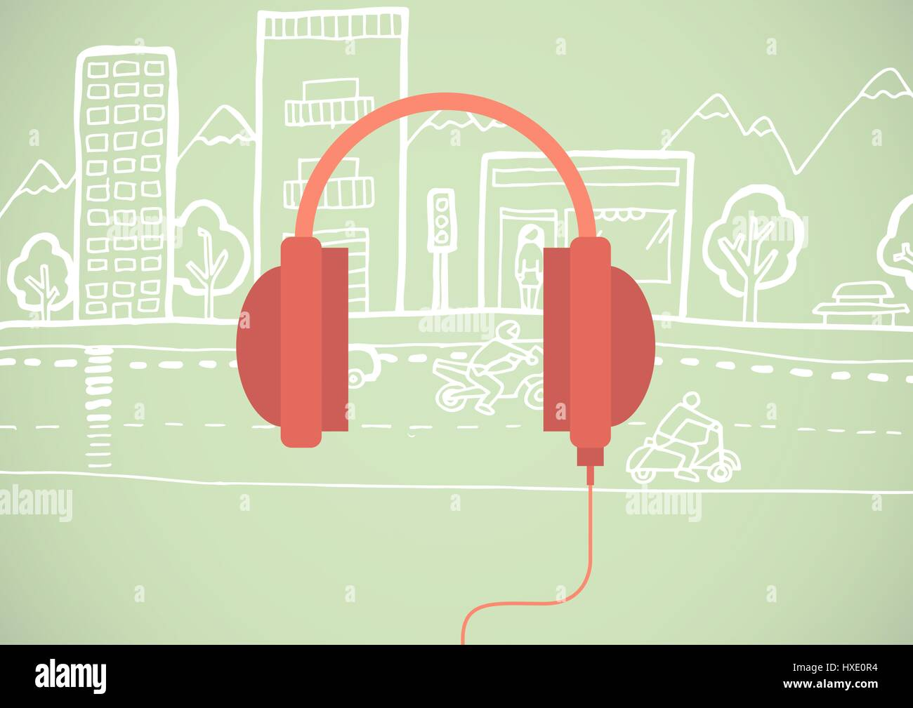Digital composite of Red headphone illustration icon in cirlce against green background with street drawing - Stock Image