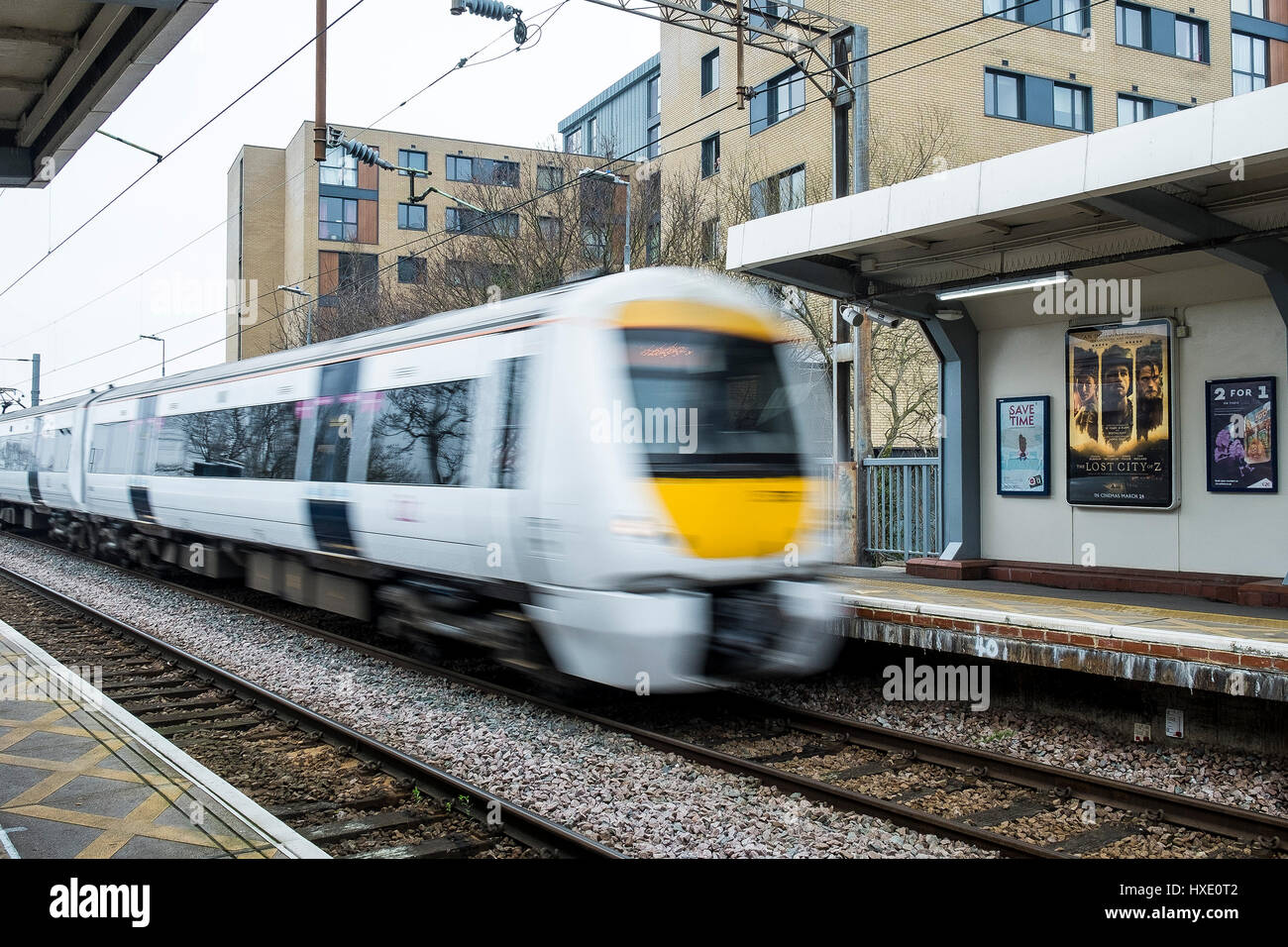 Train Speed C2C Station Blurred Transport Commuting Travelling - Stock Image