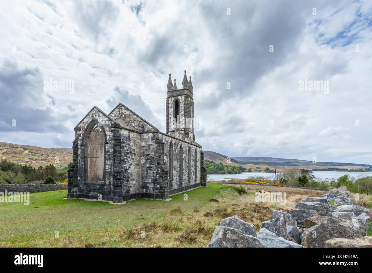 Ruins of the Old Church of Dunlewey in County Donegal, Ireland - Stock Image