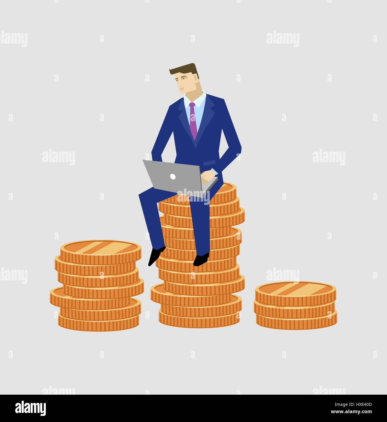 Businessman sitting with notebook on the money - Stock Vector