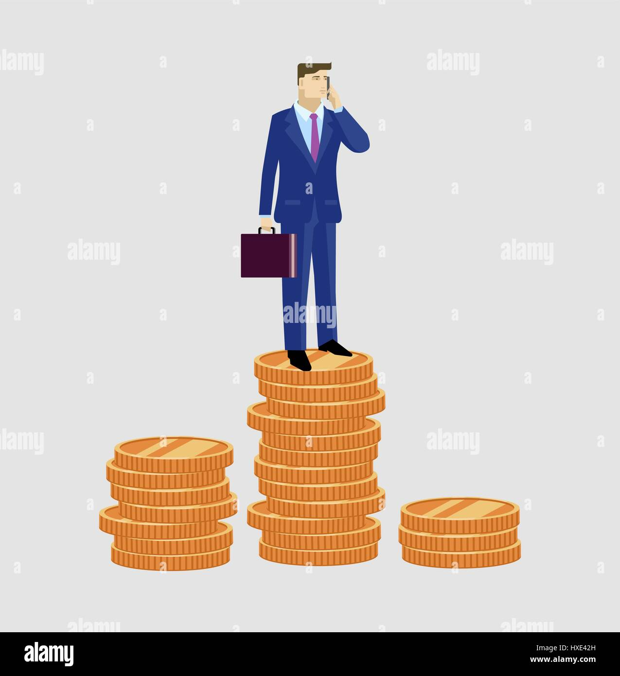 Bisnesman with case is worth the money - Stock Vector