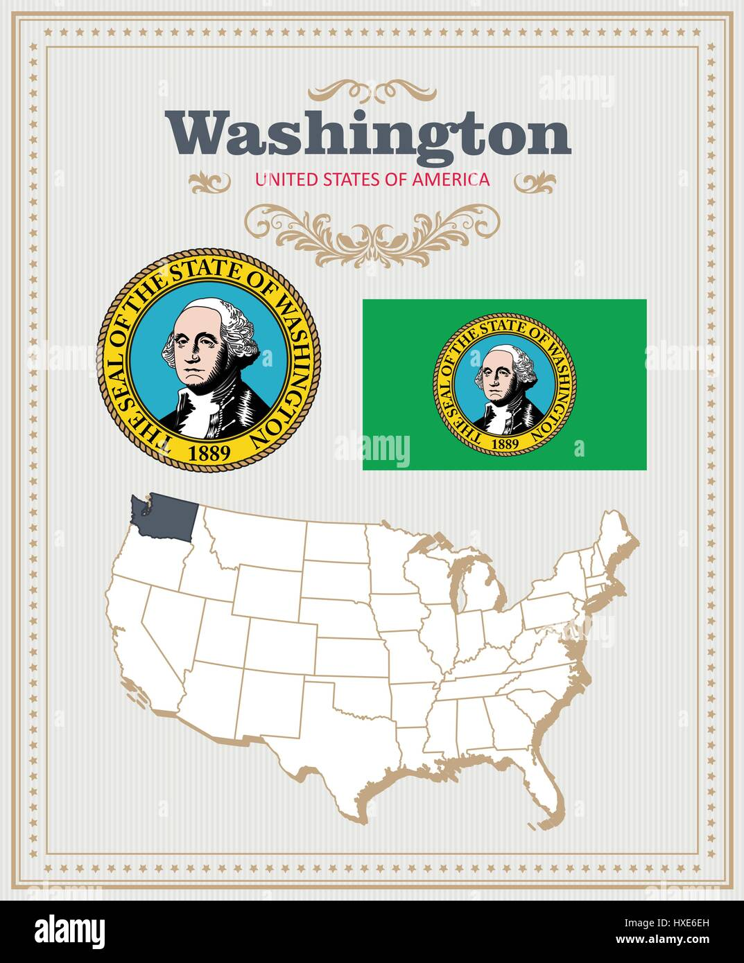 High detailed vector set with flag, coat of arms, map of Washington. American poster. Greeting card from United - Stock Vector