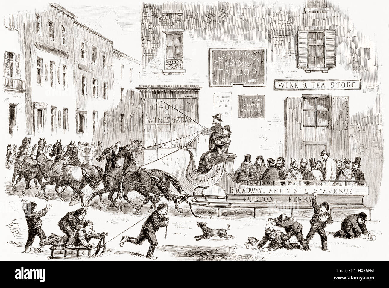 An 1865 omnibus sleigh pulled by six horses on a wintry street in New York City, United States of America.  From - Stock Image