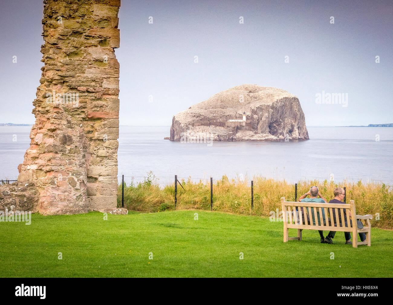 Bass Rock from Tantallon Castle, East Lothian, ScotlandStock Photo