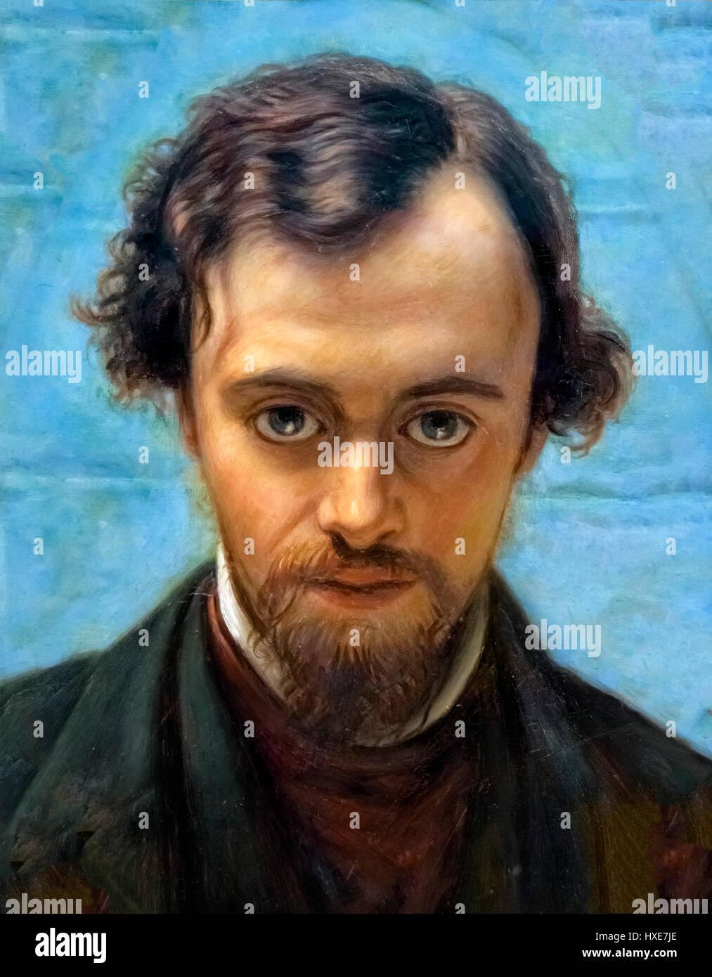 Gabriel Dante Rossetti (1828-1882), portrait by William Holman Hunt, oil on panel, c.1882. Rossetti, along with - Stock Image