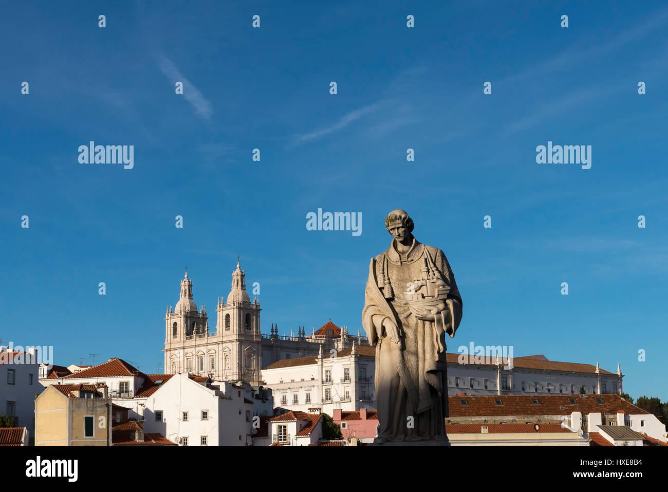 Statue of St Vincent, Lisbon's patron - Stock Image