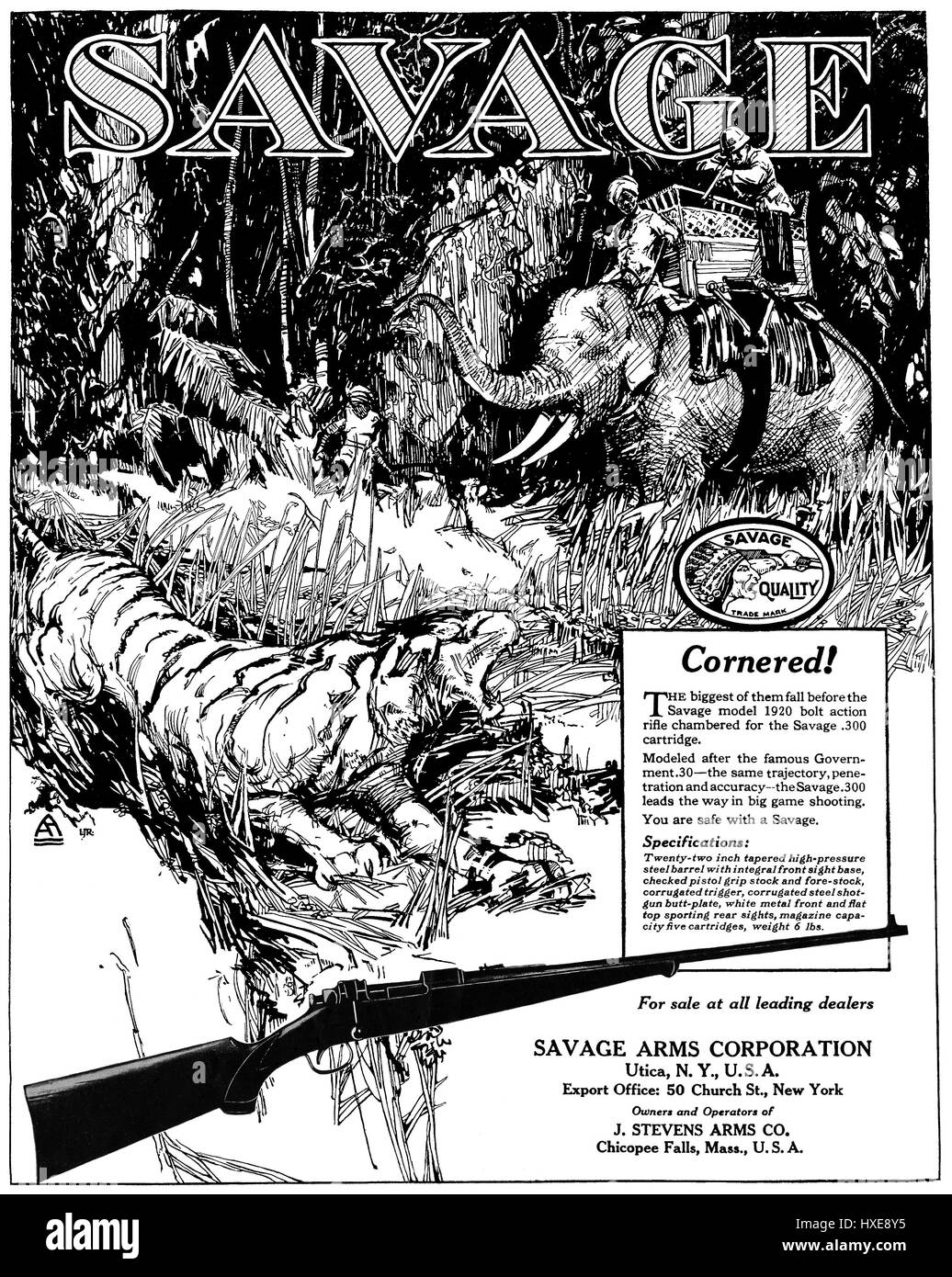 1922 Indian advertisement for the Savage Arms Corporation. - Stock Image