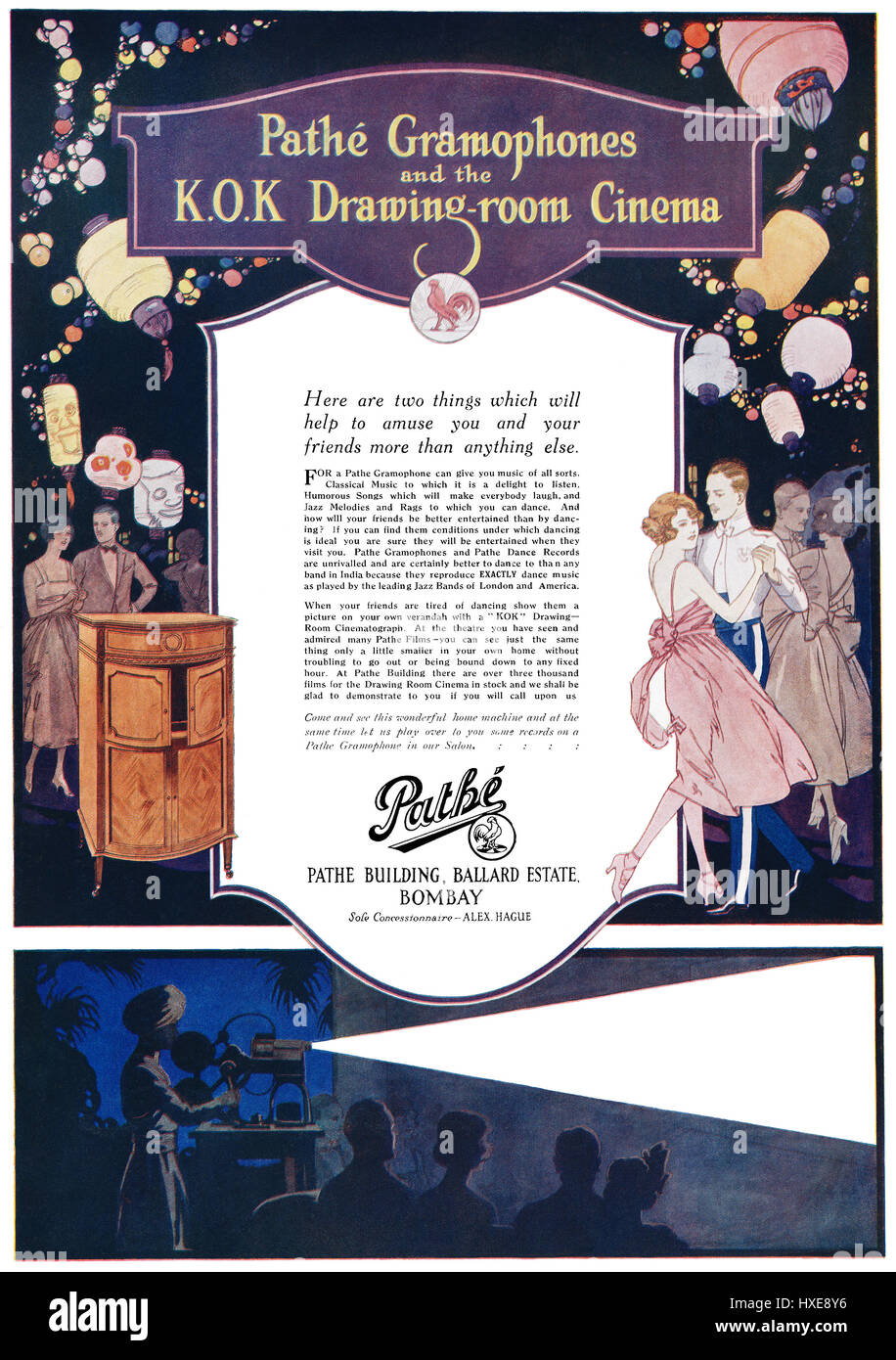 1922 Indian advertisement for Pathé Gramophones and K.O.K. Home Cinema. - Stock Image