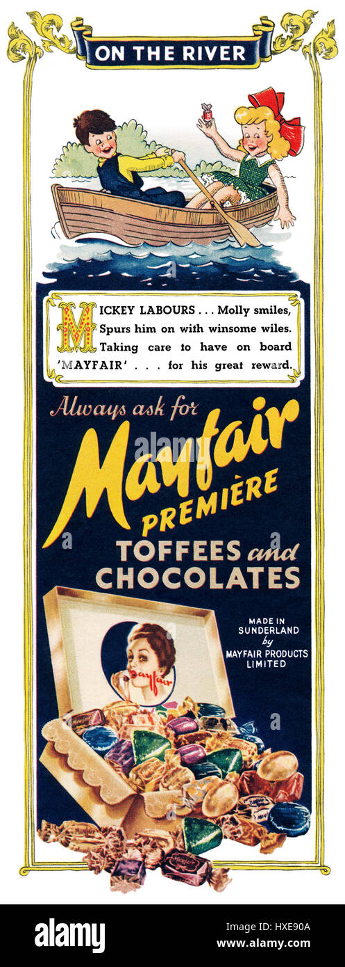 1952 British advertisement for Mayfair Première Toffees And Chocolates. - Stock Image
