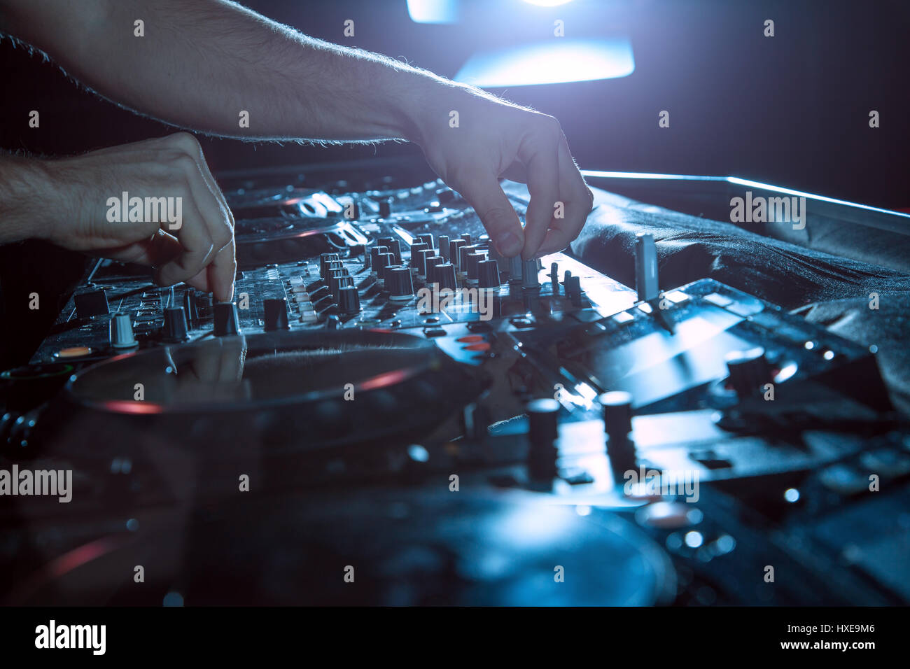 DJ Music night club, DJ technique - CD players and DJ console during the party. - Stock Image