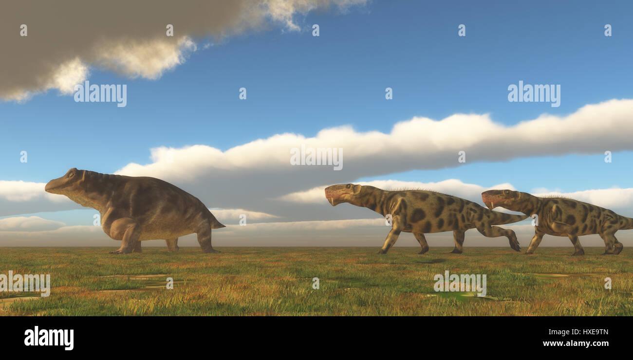 Permian Inostrancevia hunts Keratocephalus - Two Inostrancevia dinosaurs go after a Keratocephalus on a grassy plain - Stock Image