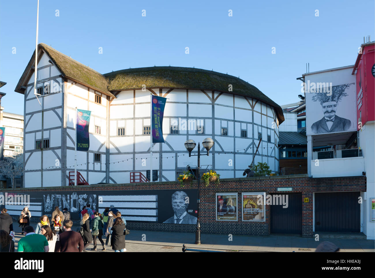 The reconstruction of Shakespeares Globe Theatre on the South Bank in Southwark, London, UK - Stock Image