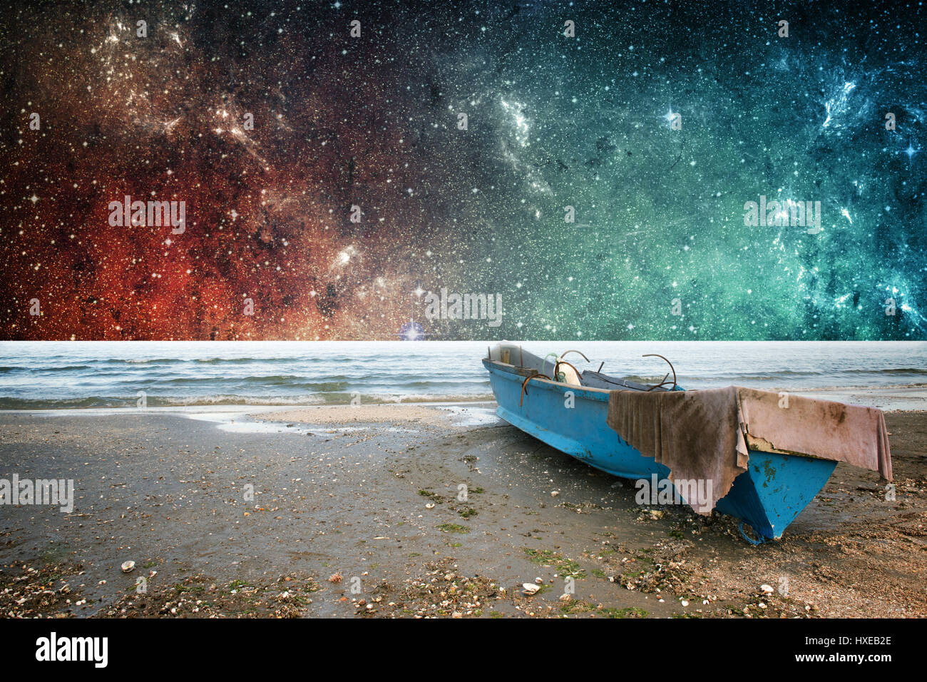 Earth and space stars fantasy wallpaper - Stock Image
