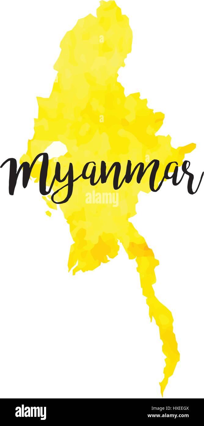 Abstract Myanmar map - Stock Vector