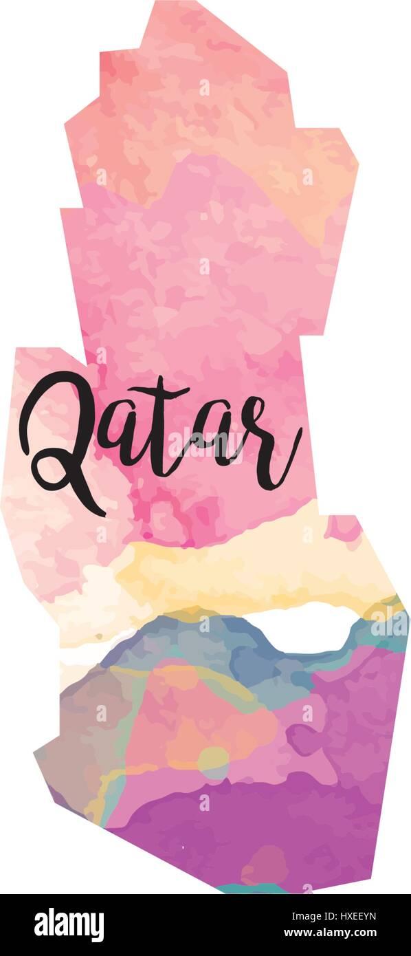Abstract Qatar map Stock Vector Art & Illustration, Vector Image ...
