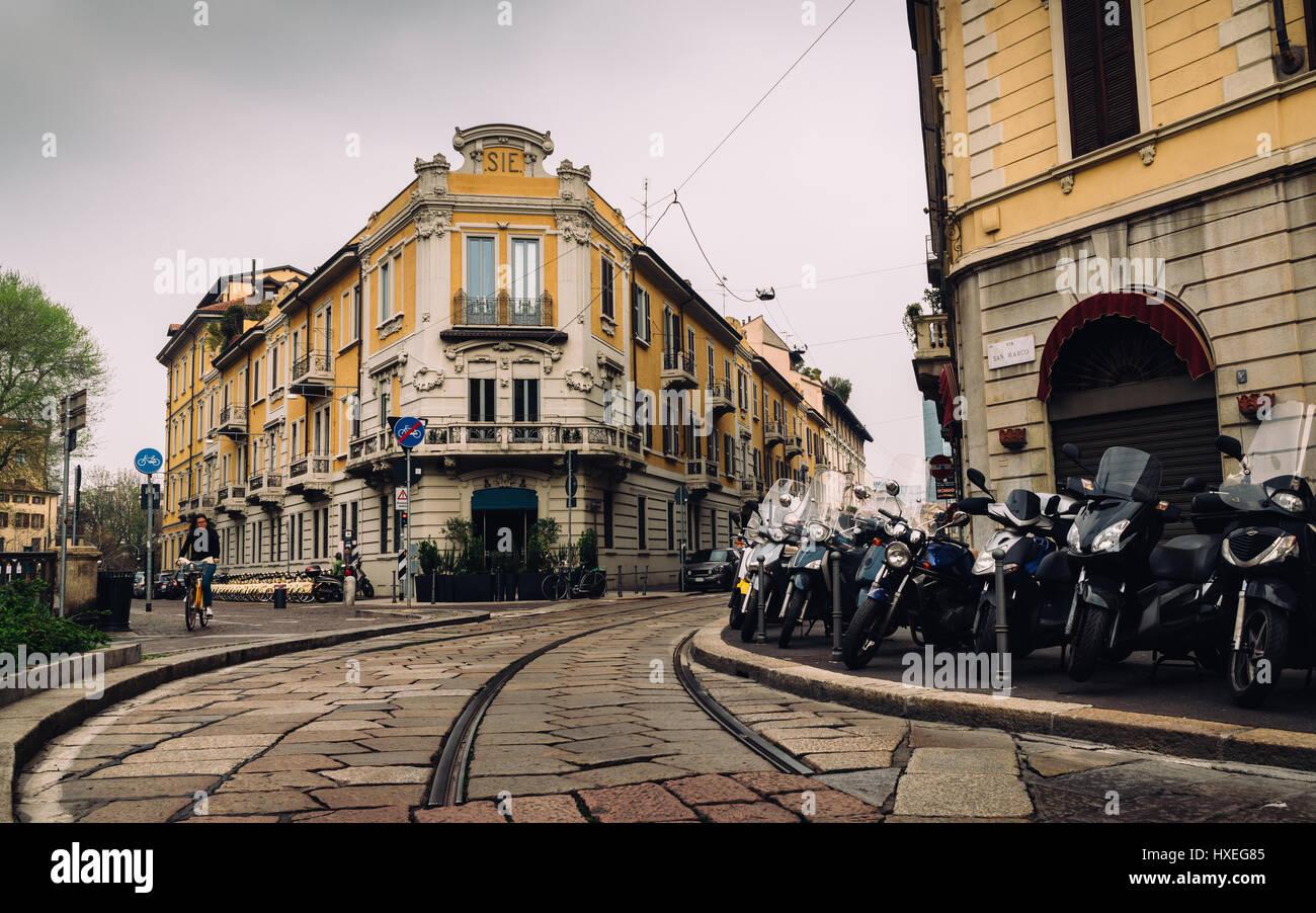 Via San Marco street Brera district central Milan Lombardy region ...