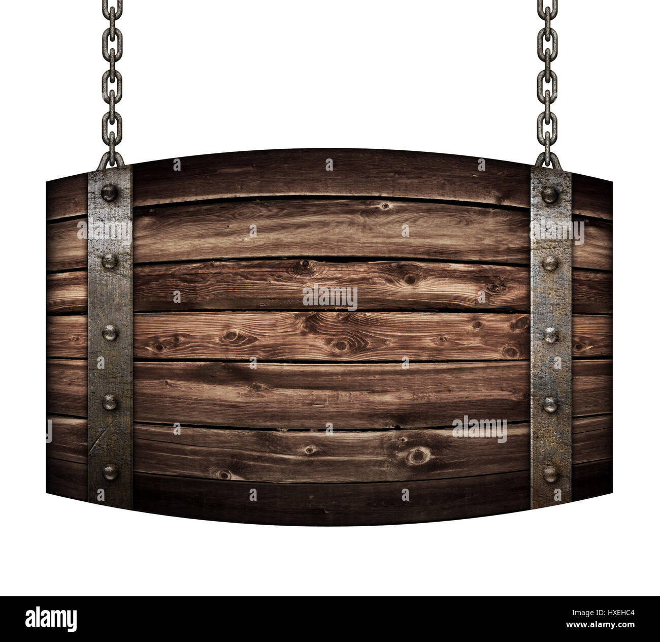 Vintage wood barrel signboard for restaurant hanging on chains isolated 3d illustration Stock Photo