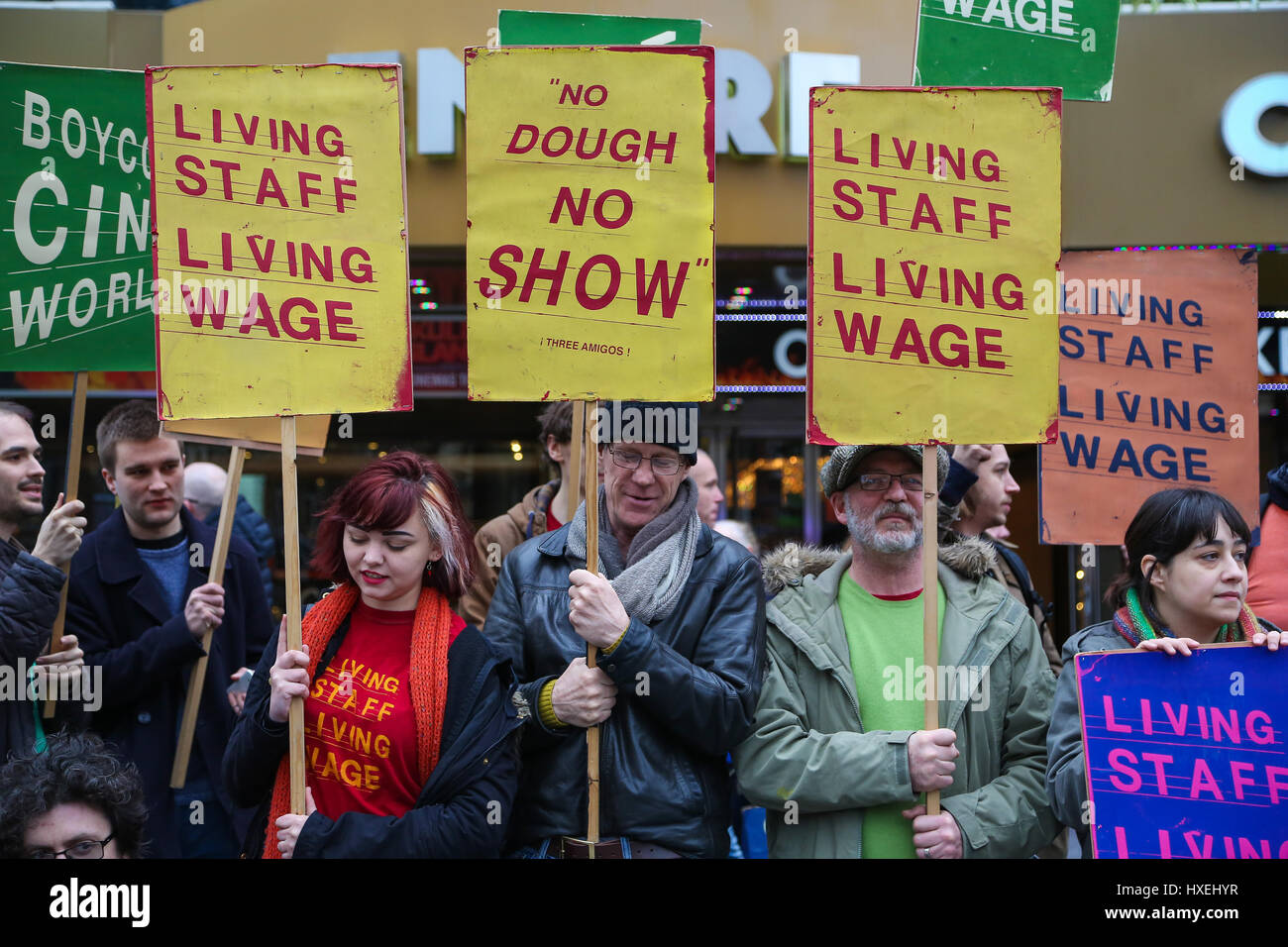 Empire Cinema Picturehouse workers walk out on strike and stage a protest with cinema workers and their supporters - Stock Image