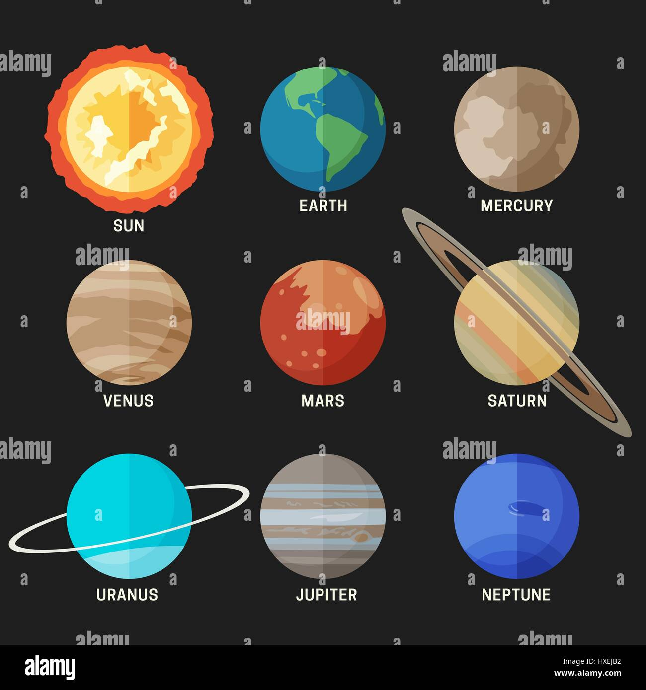 Solar System Stock Vector Images Alamy Diagram In The Space Planets Of