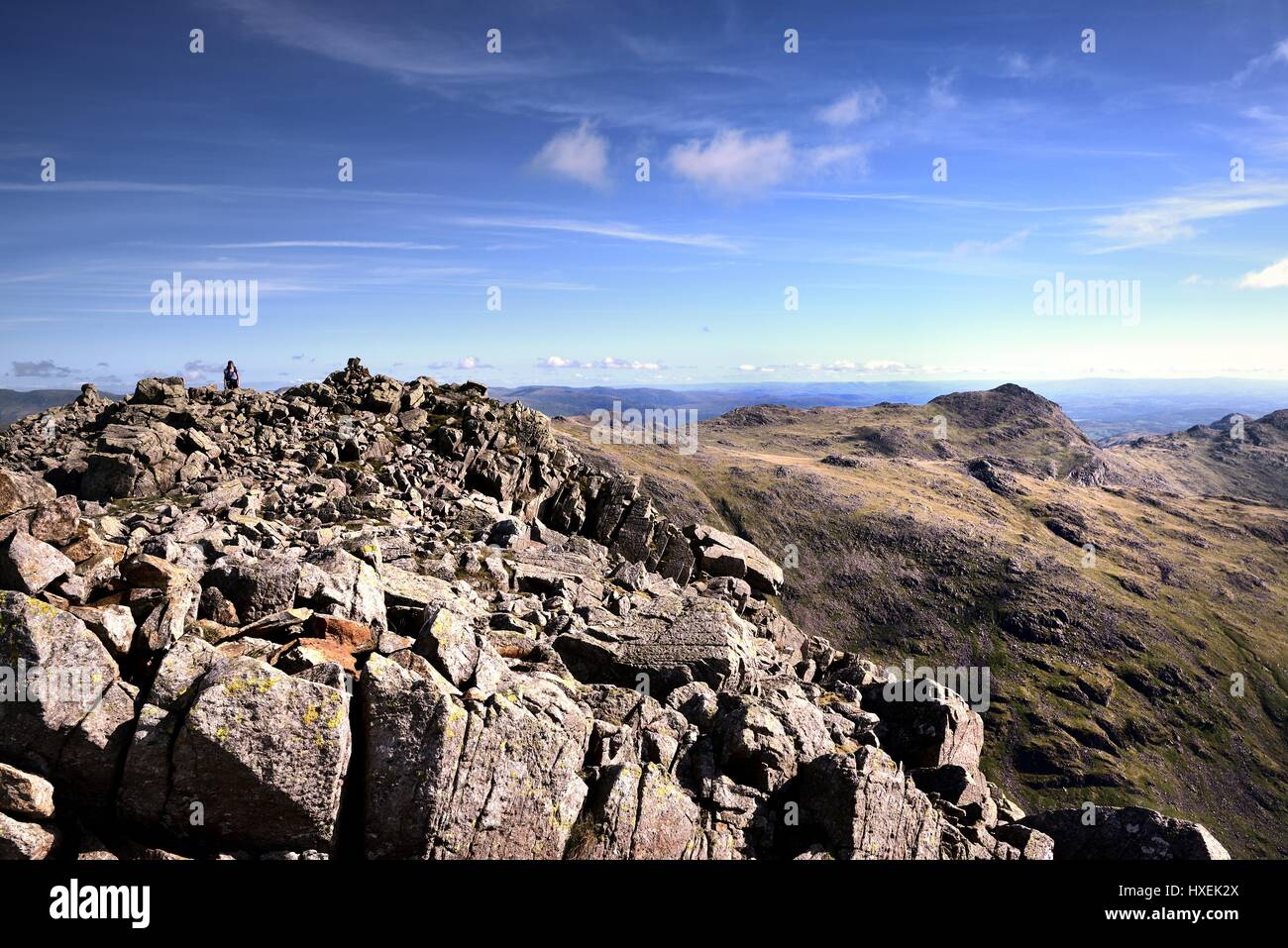 Hiker viewing the Cairn on Ill Crag Stock Photo