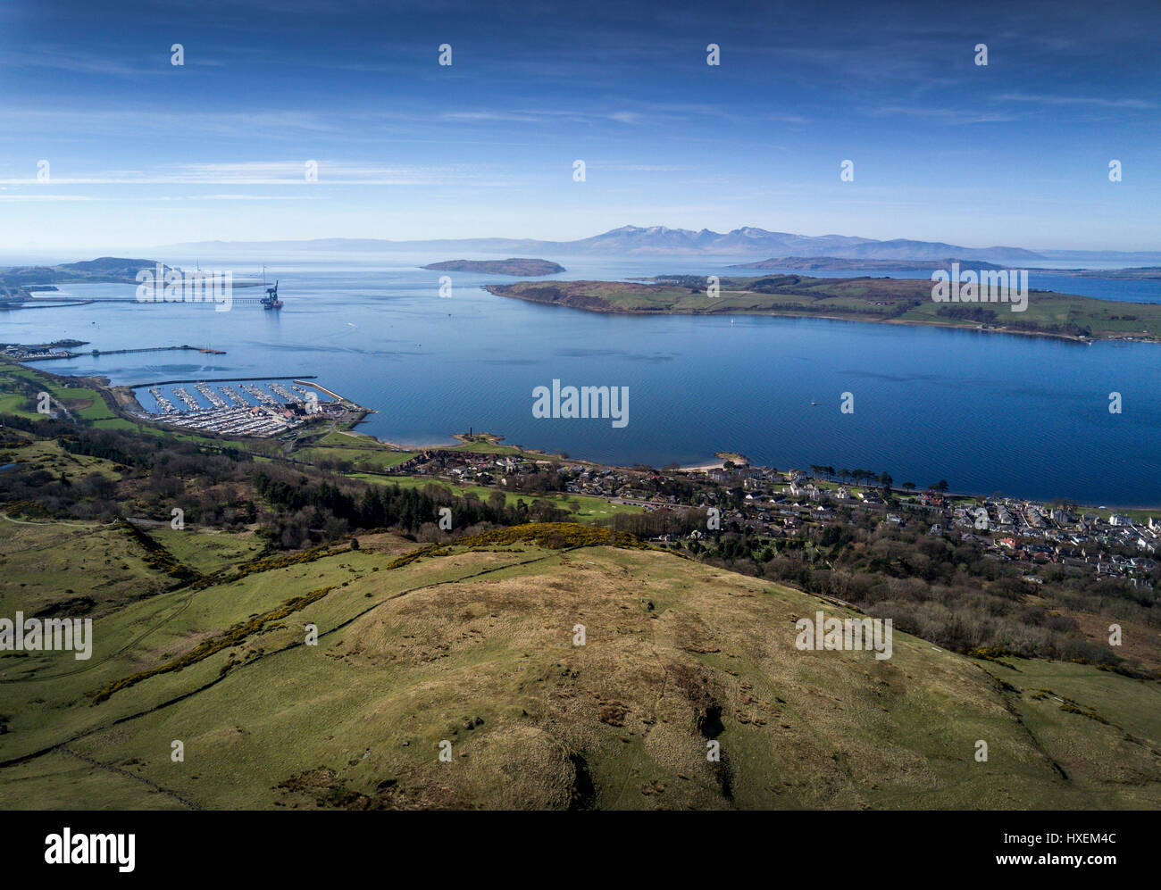 A view from Haylie Brae over looking the Firth of Clyde and Largs. - Stock Image