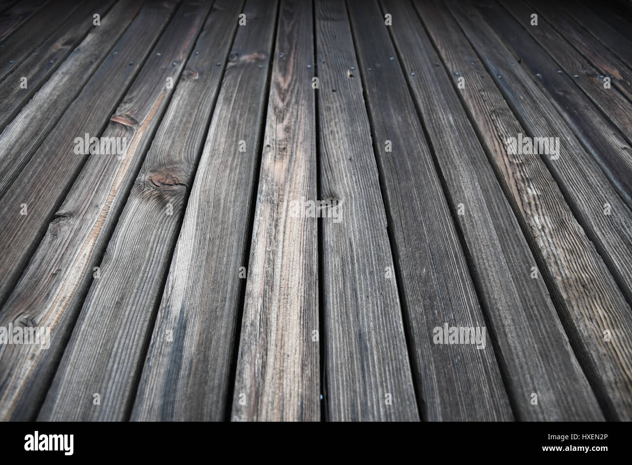 Weathered wood of an old rural shack - Stock Image