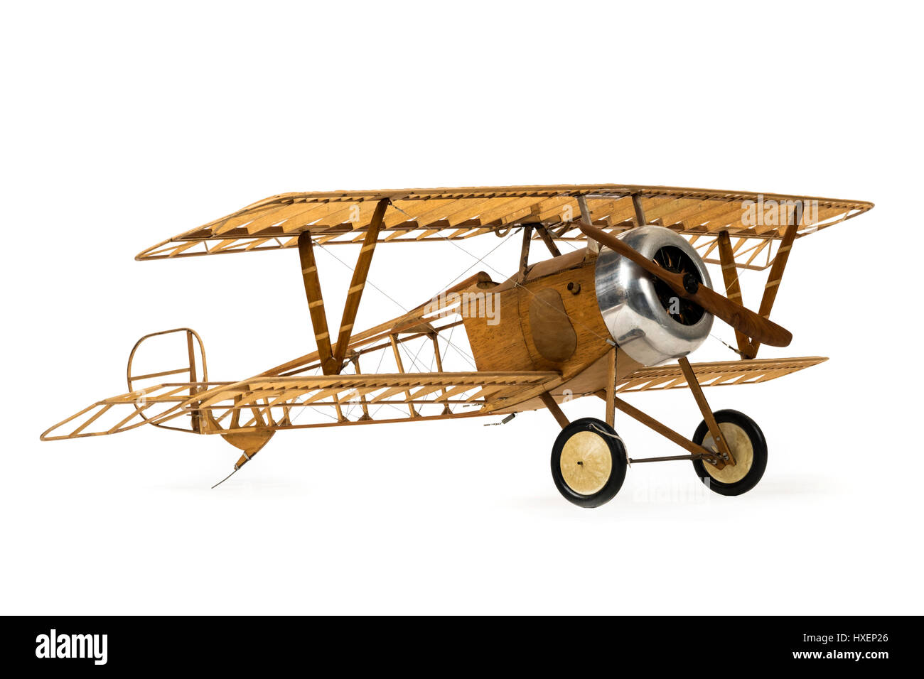 Vintage 1:6 scale skeletal model of a WW1 RFC (Royal Flying Corps) fighter aircraft, complete with Williams Bros. - Stock Image
