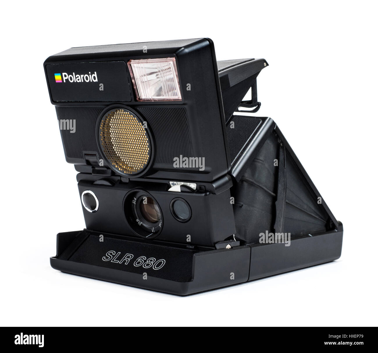 Vintage 1980's Polaroid SLR 680 folding instant film camera with revolutionary Sonar autofocus system and auto-tilting Stock Photo
