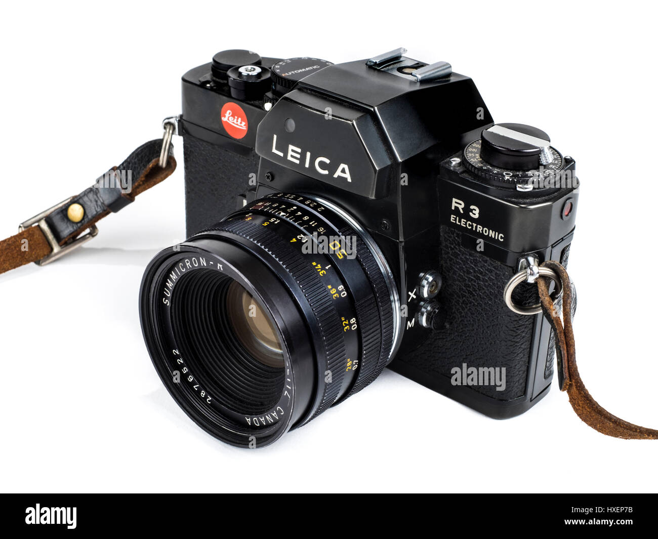 Vintage Leica R3 Electronic 35mm SLR film camera with Summicron-R 50mm f/2 manual focus lens from 1976. - Stock Image