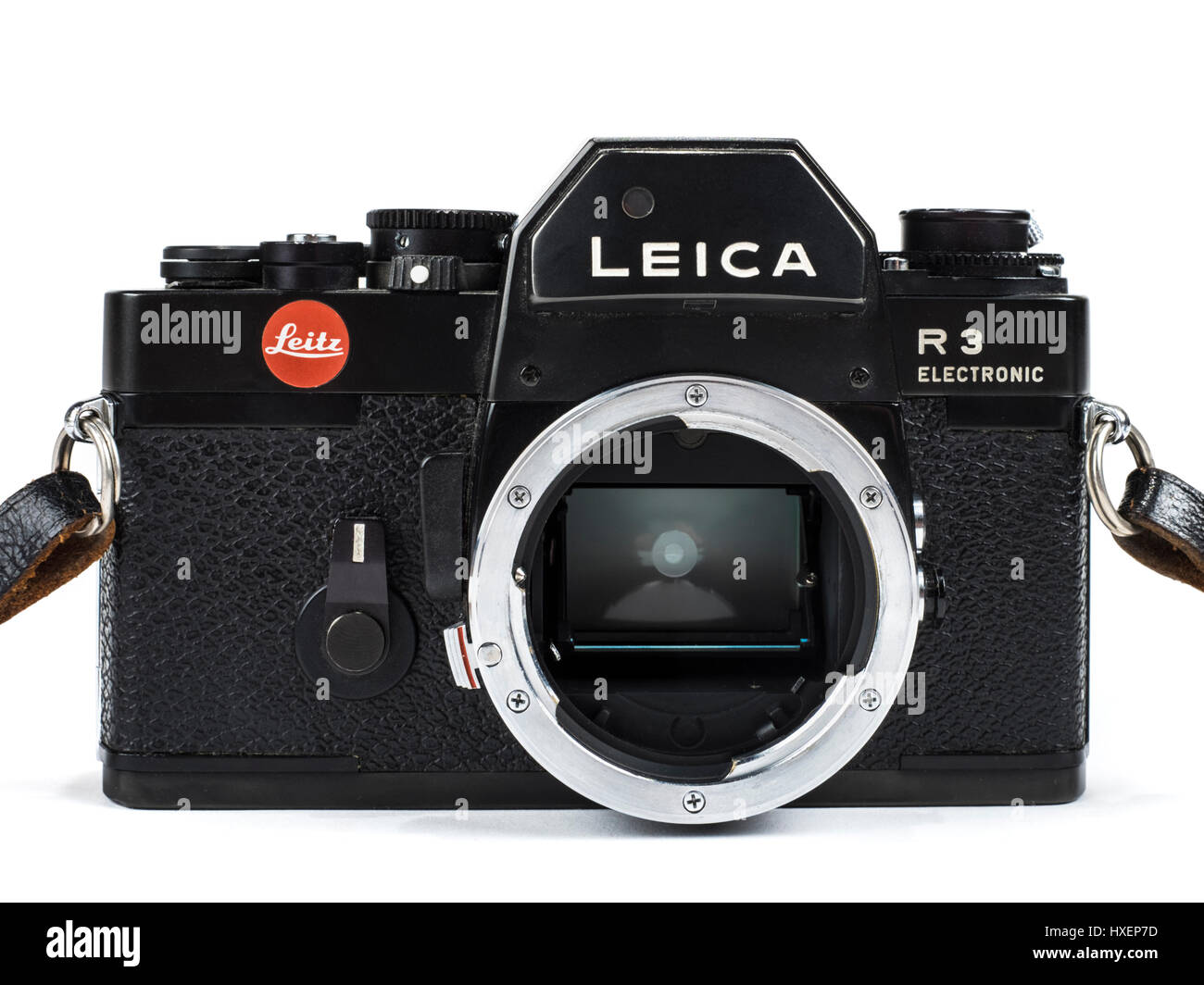 Vintage Leica R3 Electronic 35mm SLR film camera from 1976 with lens removed to show the mirror inside. - Stock Image