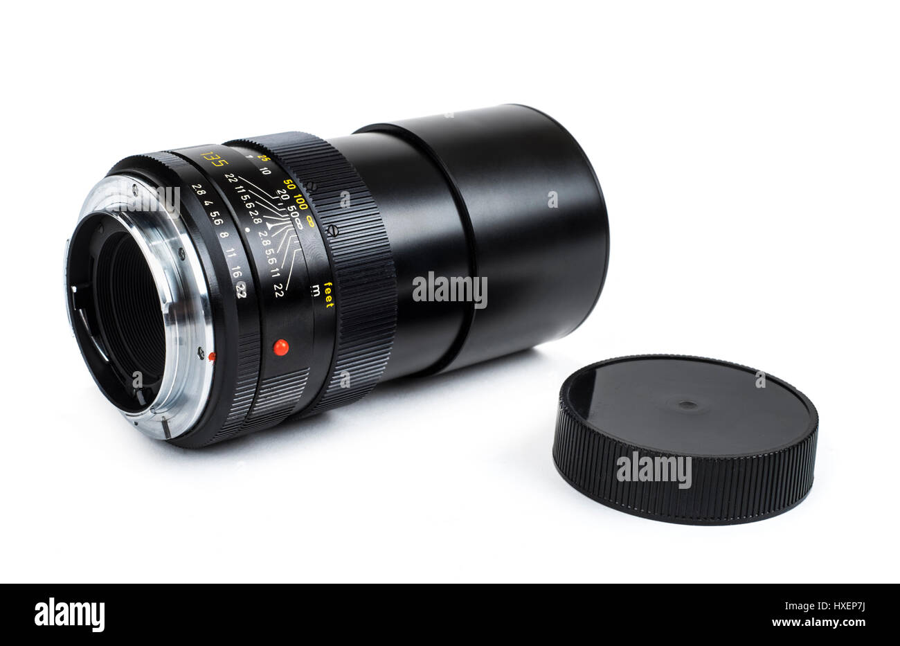 Vintage Leica (Leitz) Elmarit-R 135mm f/2.8 manual focus telephoto lens from 1976, made in Canada and compatible - Stock Image