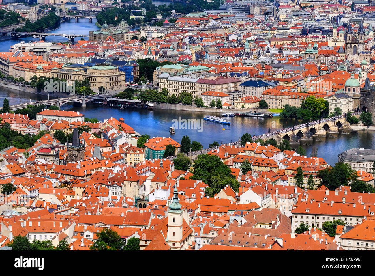 View of Prague (Czech Republic) and the famous Charles Bridge over the River Vitava, as seen from the Petrin lookout Stock Photo