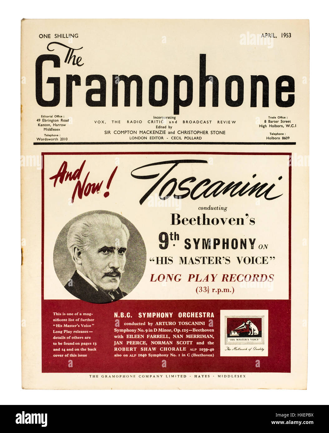 April 1953 issue of 'The Gramophone', a monthly magazine published in London devoted to classical music, - Stock Image