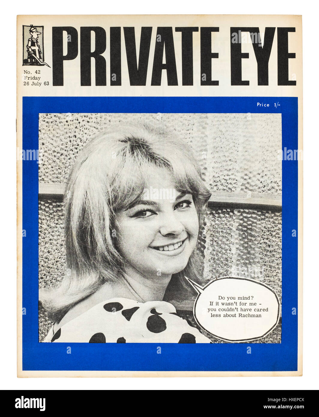 Issue No 42 of Private Eye magazine (Friday 26 July 1963) with Mandy Rice-Davies on the cover. She was an important - Stock Image