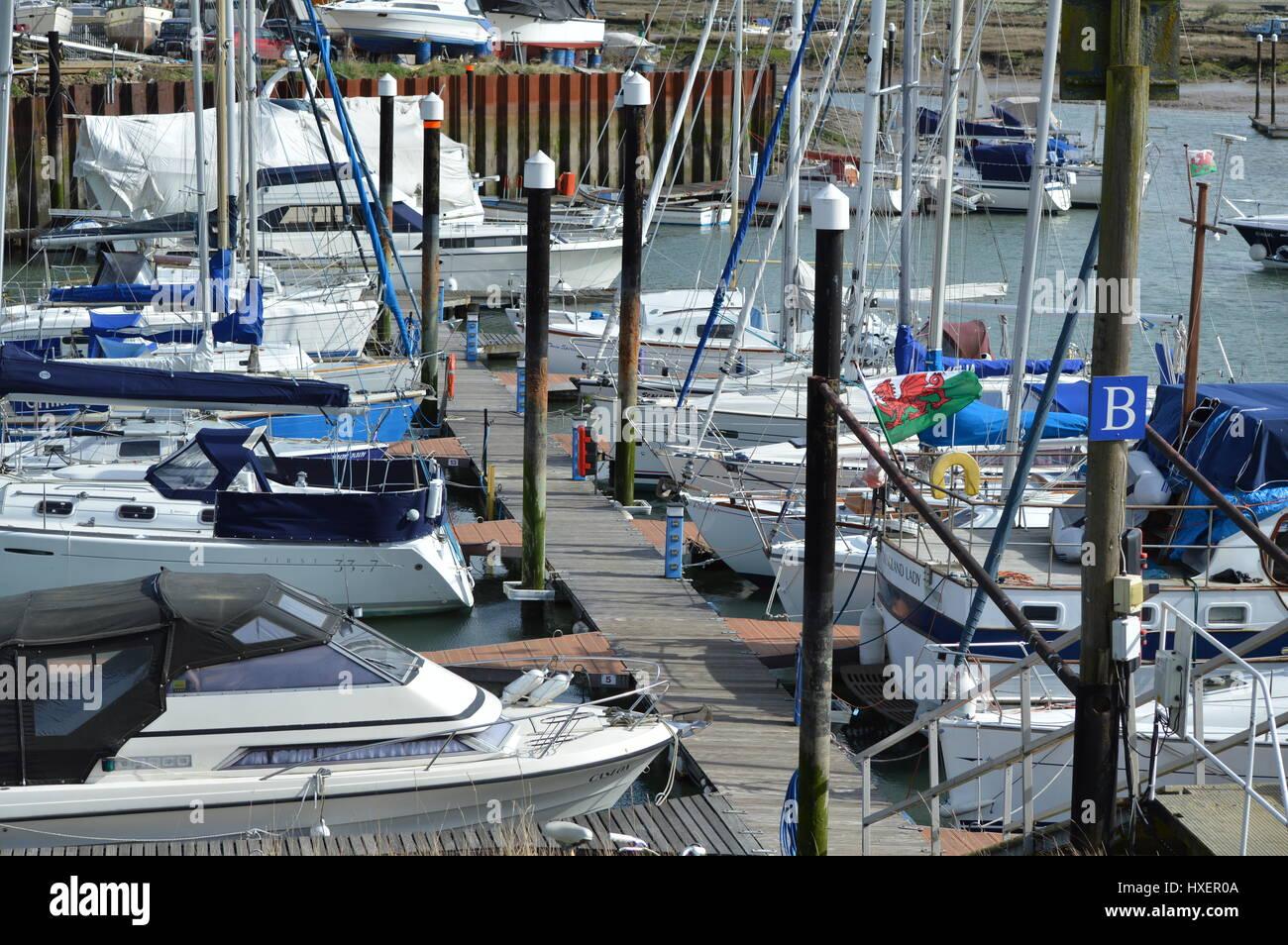 Yachts at Tollesbury Marina Stock Photo