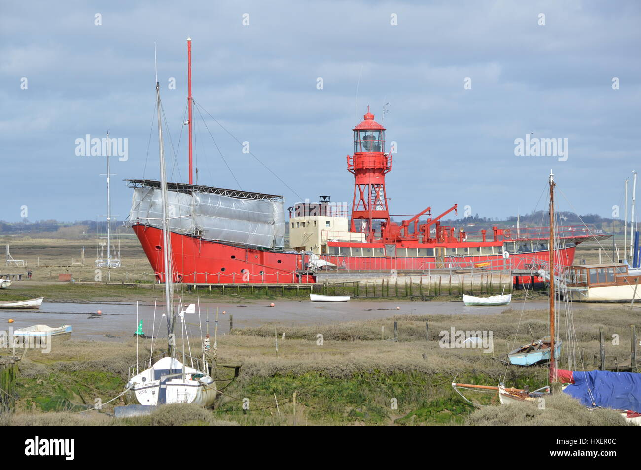 Red Boat Tollesbury Marina Stock Photo